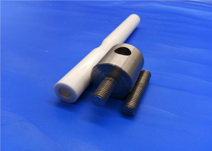 Industrial Ceramic Parts Zirconia Ceramic With  Shaft Rod / Plunger Rod Threaded