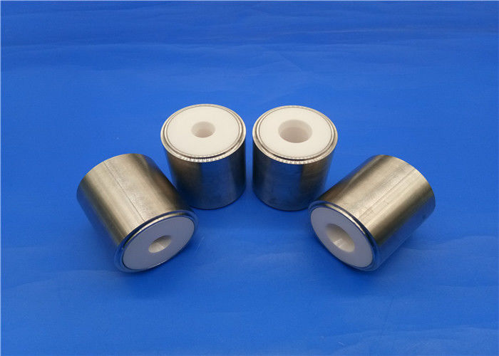 Refractory Zirconia Ceramic Piston Sleeve / Insulator Valve With Metal Parts