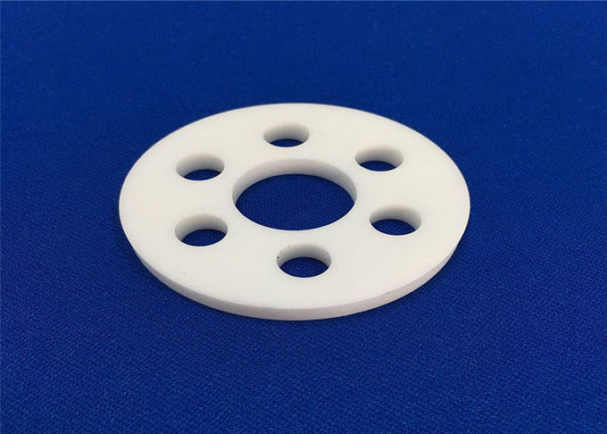 Heat Resistant Ceramic Disc / Alumina Ceramic Flange Customized Size With Ring